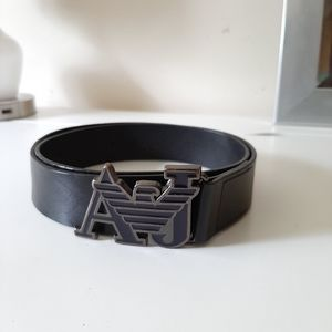 Armani Jean's Black Logo Leather Belt for Men's